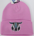 Wholesale Native Pride Long Cuff Beanie - Skull  Pink