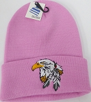 Wholesale Native Pride Long Cuff Beanie - Eagle   Pink