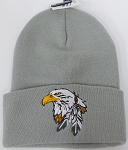 Wholesale Native Pride Long Cuff Beanie - Eagle   Grey