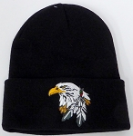 Wholesale Native Pride Long Cuff Beanie - Eagle   Black