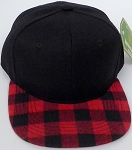 KIDS Jr. Snapback Hats Wholesale Red Plaid   Black Red