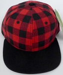 KIDS Jr. Snapback Hats Wholesale Red Plaid  Red Black