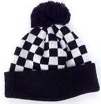 Kids Wholesale winter knit pom pom Beanie  Bk checkered