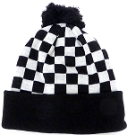 Wholesale Winter Fashion  Pom Pom Knit Checkered Beanies - Black checkered