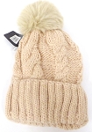 Wholesale Winter Fashion Fur Pom Pom Knit Beanies - KHAKI