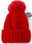 Wholesale Winter Fashion Fur Pom Pom Knit Beanies - RED