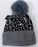 kIDS JR Wholesale Winter Fur knit pom beanie  GREY