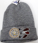 Wholesale Native Pride Long Cuff Beanie - Dream Catcher  Ash Grey