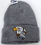 Wholesale Native Pride Long Cuff Beanie - Eagle   Ash Grey