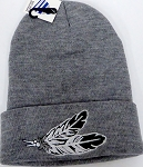 Wholesale Native Pride Long Cuff Beanie - Feather   Ash Grey