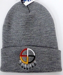 Wholesale Native Pride Long Cuff Beanie - Wheel   Ash Grey