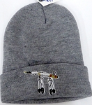 Wholesale Native Pride Long Cuff Beanie - Peace pipe  Ash Grey