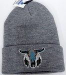 Wholesale Native Pride Long Cuff Beanie - Buffalo Skull  Ash Grey