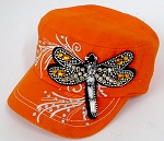 Wholesale Rhinestone Cadet Cap - Dragonfly -  Orange