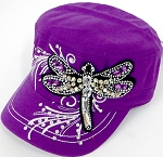 Wholesale Rhinestone Cadet Cap - Dragonfly -  Purple