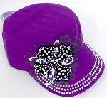 Wholesale Short Cross Cadet Rhinestone Hat - Purple