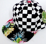 INFANT Baby Blank Snapback Hats & Caps Wholesale - Checkered  Black Hawaiian flower