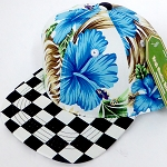 INFANT Baby Blank Snapback Hats & Caps Wholesale - Blue Hawaiian flower Checkered