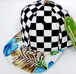 INFANT Baby Blank Snapback Hats & Caps Wholesale - Checkered  Blue Hawaiian flower