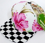 INFANT Baby Blank Snapback Hats & Caps Wholesale - Pink Hawaiian flower Checkered