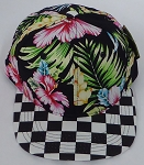 KIDS Jr. Snapback Hats Wholesale -  Hawaiian Hibiscus Black Flower Checkered
