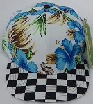 KIDS Jr. Snapback Hats Wholesale -  Hawaiian Hibiscus Blue Checkered