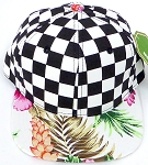 KIDS Jr. Snapback Hats Wholesale - Checkered Art Design   Hawaiian Hibiscus Pink