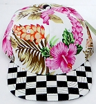 KIDS Jr. Snapback Hats Wholesale -  Hawaiian Hibiscus Pink Checkered