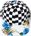 KIDS Jr. Snapback Hats Wholesale - Checkered Art Design   Hawaiian Hibiscus Blue