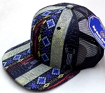 Wholesale Mesh Trucker 6 Panel Snapback Hats - Aztec - Navy Diamond (6 panel)