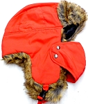 Trooper Bomber Faux Fur Winter Hats with Mask Wholesale - Solid RED
