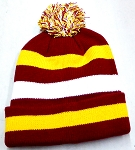 Beanies Wholesale | Pom Pom Beanies Trendy Winter Hats -  Burgundy Gold White