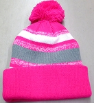 Beanies Wholesale | Pom Pom Beanies Trendy Winter Hats -  Hot Pink White Grey