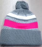 Beanies Wholesale | Pom Pom Beanies Trendy Winter Hats -  Grey White Hot Pink