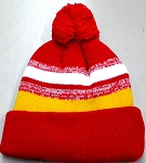 Beanies Wholesale | Pom Pom Beanies Trendy Winter Hats -  Red White Gold