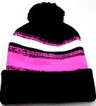 Beanies Wholesale | Pom Pom Beanies Trendy Winter Hats -  Black White Hot Pink