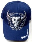Wholesale Native Pride Baseball Cap - Buffalo Skull -  Navy