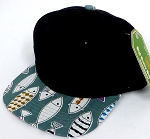 INFANT Baby Blank Snapback Hats & Caps Wholesale Fish - Black Fish 01