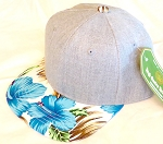 INFANT Baby Blank Flower Snapback Hats & Caps Wholesale - Denim Grey Blue Hawaiian