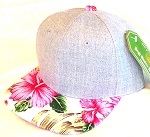 INFANT Baby Blank Flower Snapback Hats & Caps Wholesale - Denim Grey Pink Hawaiian