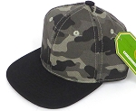 INFANT Baby Blank Snapback Hats & Caps Wholesale  - Charcoal camo Black