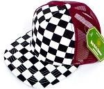 KIDS Junior Mesh Trucker Snapback Caps - Checkered bk  Burgundy