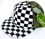 KIDS Junior Mesh Trucker Snapback Caps - Checkered bk  D Grey