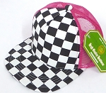 KIDS Junior Mesh Trucker Snapback Caps - Checkered bk  Hot Pink