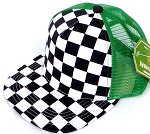 KIDS Junior Mesh Trucker Snapback Caps - Checkered bk  K Green