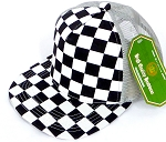 KIDS Junior Mesh Trucker Snapback Caps - Checkered bk  L Grey