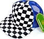 KIDS Junior Mesh Trucker Snapback Caps - Checkered bk  Royal Blue