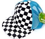 KIDS Junior Mesh Trucker Snapback Caps - Checkered bk  Turquoise