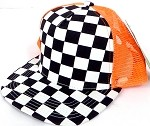 KIDS Junior Mesh Trucker Snapback Caps - Checkered bk  Orange