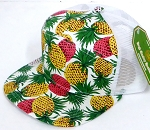 Blank 7 Panel  Mesh Hats/Caps Wholesale -  Pineapple White